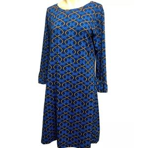 BARBARA GERWIT Blue & Brown Print Tunic Dress
